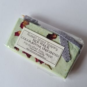 New VEGAN Aloe Vera & Cocoa Butter Unscented Handcrafted Hanging Soap 90g